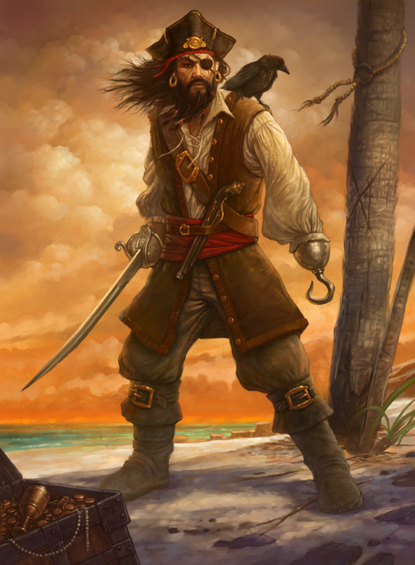 Pirate with bird on shoulder with a beautiful gold colored sky in the background