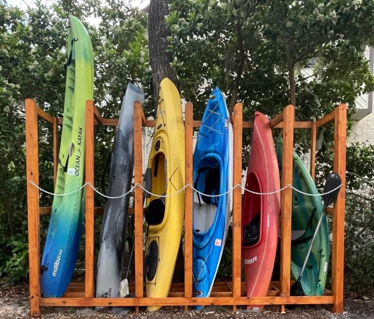 Canoe, kayak, and paddle board storage rack at Bluewater Bay Marina